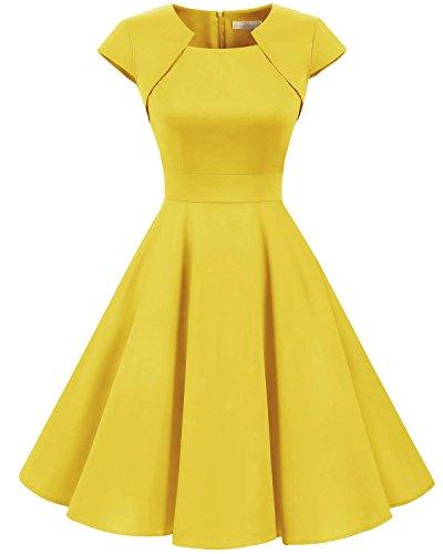 HomRain Damen 50er Vintage Retro Kleid Party Kurzarm Rockabilly Cocktail Abendkleider Yellow L - Kleider Gelb Damen