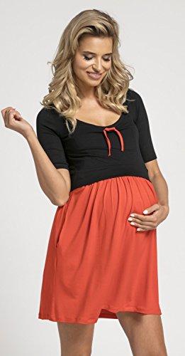 Happy Mama.Damen Umstands Stillkleid Mini Schaukel Kleid Kurzarm.677p. (Black & Red) - 4