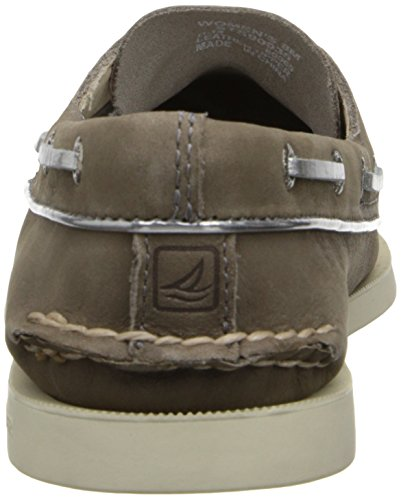 Sperry Sperry A/O 2-Eye Leather sahara 9155240, Chaussures basses femme Greige/Silver Metallic Piping