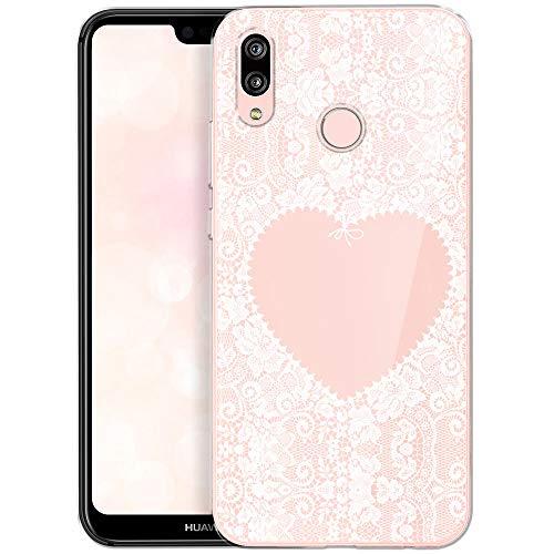 OOH!COLOR Handyhülle kompatibel mit Huawei P20 Lite Handyhülle Silikon Case Muster Tasche Huawei P20 Lite Hülle Transparent mit Motiv Wießes Spitzenherz Herz (EINWEG)