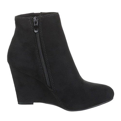 MQ1828 chaussures bottes bottines femme à talons compensés Noir - Noir