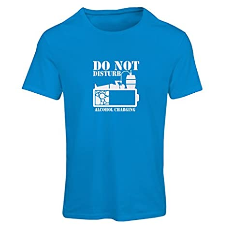Frauen T-Shirt Alkoholaufladung - Party Geschenkideen (XX-Large Blau Weiß)