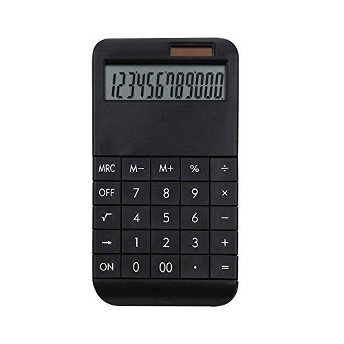 Taschenrechner mit Standardfunktionen in verschiedenen Farben - 19 x 10 x 1,2 cm - Solarpower - (schwarz)