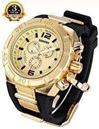 0ca1aee74e35 Confianza Hombres Tamaño Grande y Pesado tono dorado caso deporte relojes