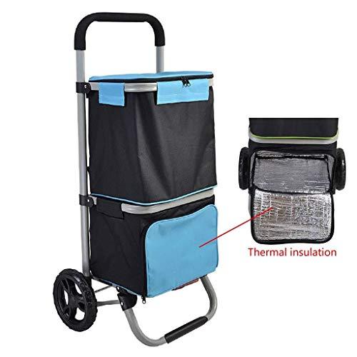 Mr.T Stechkarre Wärmedämmung kalt Einkaufswagen, Reise Picknick Aufbewahrungstasche Stechkarre zweilagig, Acht-Zoll-Lagerräder, abnehmbare Tasche und faltbar tragbare Wagen (Color : Black+Blue)