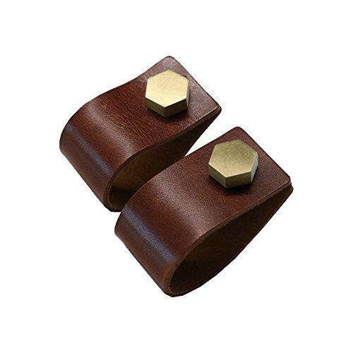 MALLEABLE Formbare Leder Schublade Pull und Schrank Schublade Griffe, Braun (130mm), Möbel Hardware zieht, für Tür Schrank, Kleiderschrank, Küche, 2Stück - Leder Pull