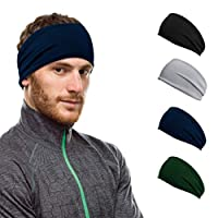 Workout Hairband Headband Sweatband Moisture Wicking Absorbing Stretchy Sports Unisex Elastic Helmet Liner for Motorcycling Cycling Running Cross-Fit Training Yoga Basketball for Men Women (4 Pack)