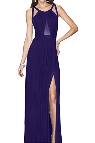 ivyd ressing robe style plein rueckenfrei fente mousseline Party Prom robe robe du soir violet foncé