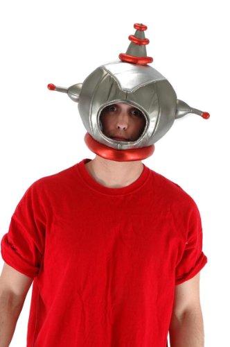 ronaut Retrokostüm-Kopfbedeckung Erwachsene (Raumfahrer Kostüm Silber)