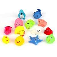 Ulable 13pcs Different Squeaky Floating Animals Ocean Rubber Baby Bath Bathing Toys