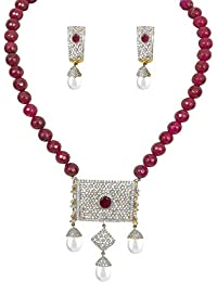 American Diamond Gold Plated Exclusive Necklace Set / Jewellery Set With Earrings For Girls And Women (Red)