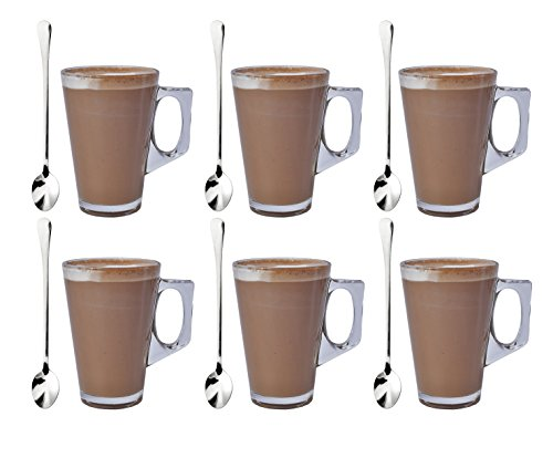 Express-Trading--SET-OF-6-LATTE-GLASSES-TEA-COFFEE-CAPPUCCINO-GLASS-CUPS-HOT-DRINK-MUGS-FREE-SPOONS