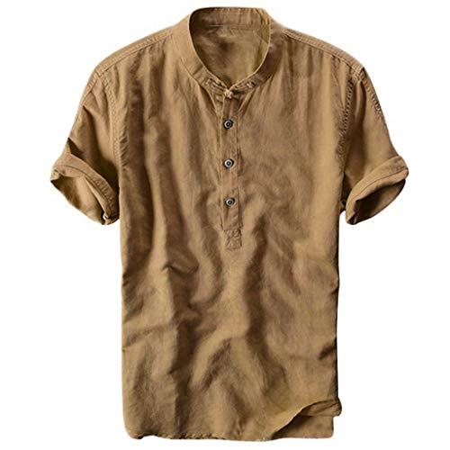 Beikoard Herren Leinenhemd Henley Sommer Hemd Männer Freizeithemd Shirt Leinen Schlank Kühlen Und Dünne Atmungsaktive Kragen Hängen Gefärbt Gradient Baumwolle Hemd M-3XL (Khaki, M)