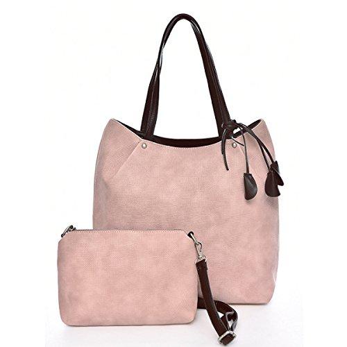 FZHLY Nuova Borsa A Tracolla In Pelle Madre Sacchetto Dell'unità Di Elaborazione Di Modo Semplice,Black Pink