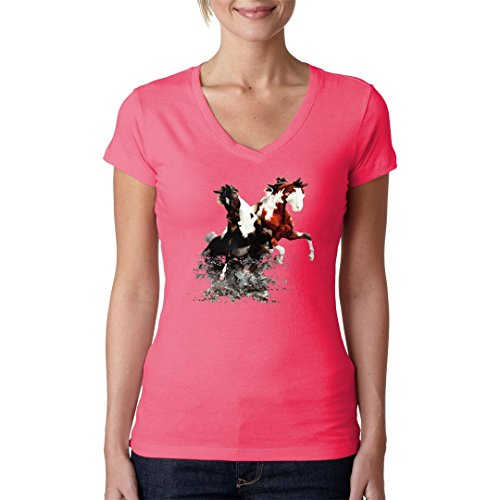 Fun Girlie V-Neck Shirt - Zwei Pferde im Fluss by Im-Shirt Light-Pink