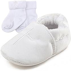 Jimmackey Neonato Bambino Camminatore Sneaker Lettera Cuore Anti-Scivolo Morbide Suola Scarpe (Bianca, 3'6 mesi)