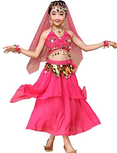 Astage Mädchen Kleid Kinder Bauchtanz Halloween Karneval Kostüm-SätzeHotpinkXS