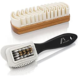 Amazy Cepillo Gamuza Perfecto para Zapatos / Juego de cepillos para limpiar ante, gamuza, nobuk o terciopelo