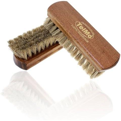 TelMo - Cepillo lustrador para zapatos, arqueado, 170mm, 100% crin brillante, 1pieza, barnizado, color marrón
