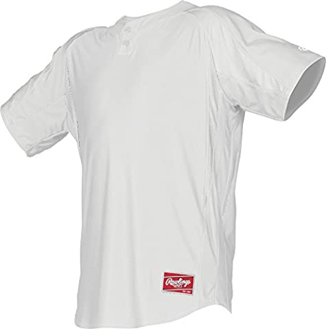 Rawlings Men's 2-Button Jersey with Inserts, Large, White