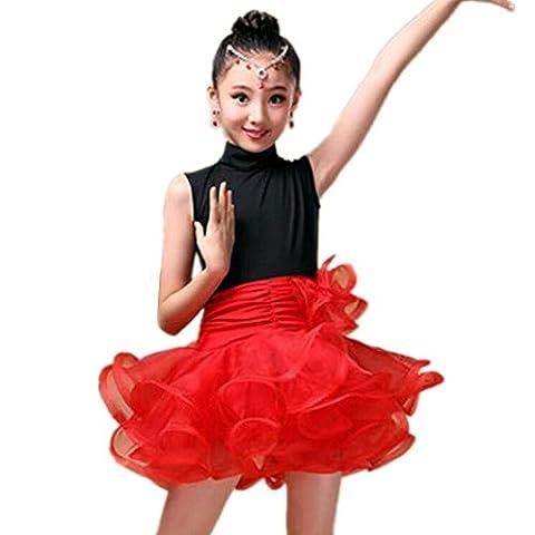 Wgwioo Organza Flauschige Kinder Latein Tanzkleid . Big Red . Xl