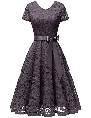bridesmay Damen 50S Retro Spitzenkleid Kurzarm Elegant Brautjungfernkleid Abendkleider Grey M