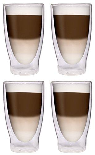 4X 370ml XXL doppelwandige Cocktailgläser/Longdrinkgläser/Eistee-Gläser/Saft- und Wassergläser - 4X 370ml edle extra große Thermogläser mit Schwebeeffekt von Feelino ...