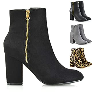 Womens Mid High Heel Ankle Boots Ladies Casual Party Zip Biker Shoes Booties 3-8 2