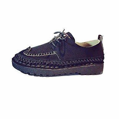 SHOESHAOGE Les Femmes&#039;S Appartements Chaussures En Daim Formelle Automne Casual Office &Amp; Carrière Lace-Up Talon Plat Noir Brun Vert 1En 1 3/4 Black