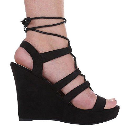 Damen Schuhe, 1336-KL, SANDALETTEN PUMPS MIT SCHNÜRUNG Schwarz