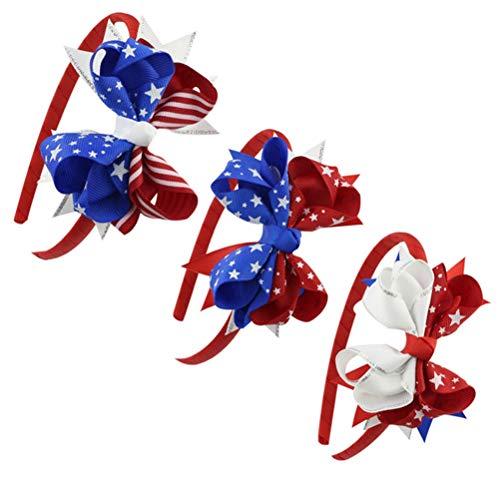Amosfun Independence Day Stirnband amerikanische Flagge Bogen Sterne und Streifen Haarband Dekorationen 4. Juli Head Hoop für Kinder Kinder 3St -