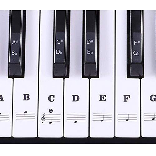 Klaviertastatur-Aufkleber, Klaviertastatur, transparent, abnehmbare Aufkleber für 37/49/54/61/88 Tasten Schwarz -