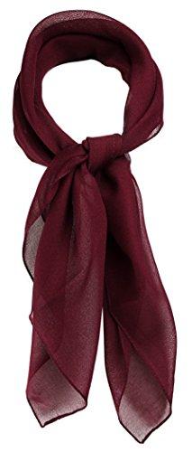 TigerTie Feines Damen Chiffon Nickituch in bordeaux einfarbig Uni - Größe 58 cm x 58 cm - Tuch Halstuch Schal
