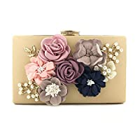 barsku Women Clutches Flower Evening Handbag Chain Strap Shoulder Bag, Flower Dinner Handbag,Ladies Stereo Flowers Pearl Messager Clutch Bag Evening Party Bride Handbag