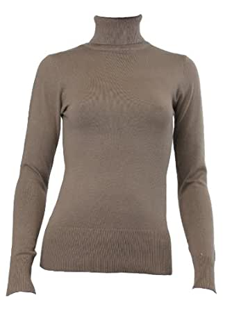 Womens Roll Necks Ladies Jumpers By Love Lola Plain Fine Knit Roll Polo Neck Tops Sizes 8 - 14 (L 14, Mink)