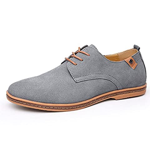Oriskey Men's Leather Suede Oxford Casual Shoes Flats Lace Up