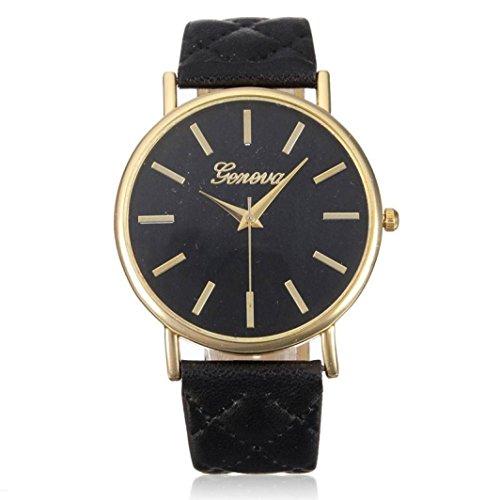 banduhr Elegant Uhr Modisch Zeitloses Design Klassisch Leder Römische Ziffern-Leder-analoge Quarzuhr Armbanduhr Schwarz ()