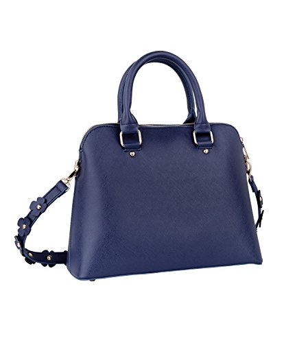 SIX Damen Handtasche, dunkelblaue Henkel-Tasche, Umhängetasche, mit Blumenapplikationen, Boxy Bag, in Lederoptik (726-405)