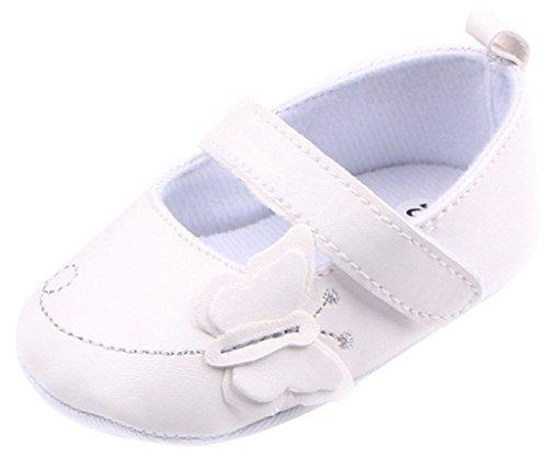 Y-BOA Bébé Fille PU Cuir Princesse Chaussures Baptêmes Papillon Chaussons Printemps Blanc