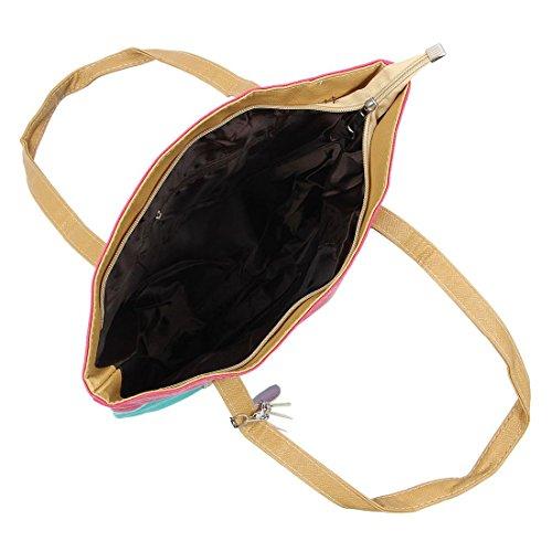 TOOGOO(R) Sacchetti di cuoio di cuoio dell'unita' di elaborazione del sacchetto di spalla delle donne del sacchetto delle donne dell'annata sacchetto-Arancione + nero Rosa rossa&azzurro del lago