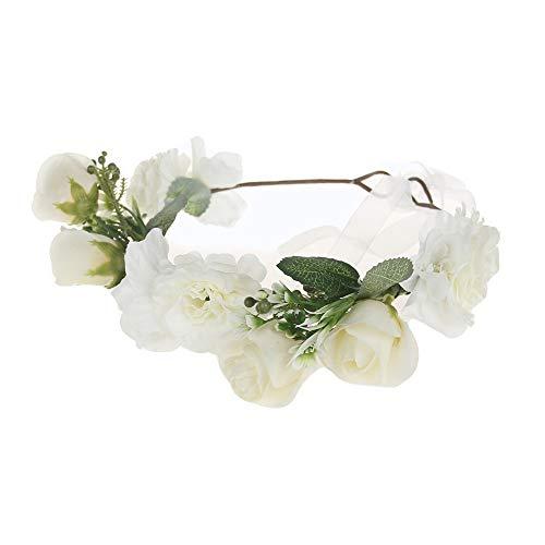 Lazzboy Garland Frauen handgefertigte Blumen Haarband Krone Hochzeit Kranz Braut Kopfschmuck(M,Weiß)