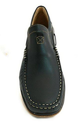 Zerimar Chaussure en cuir nautique avec semelle en caoutchouc flexible 100% cuir premium Marquage design de mode Doublure intérieure Grandes tailles XXL de 47 à 50 Bleu Marine
