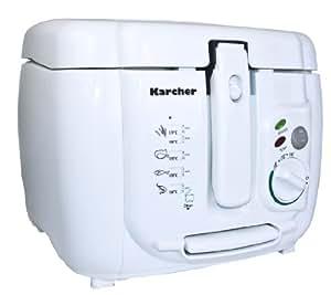 Karcher FR 510 Fritteuse (Cool-Touch-Gehäuse, 1800 Watt, 2,5 Liter, Thermostat-Temperaturregler bis 190°C) weiß