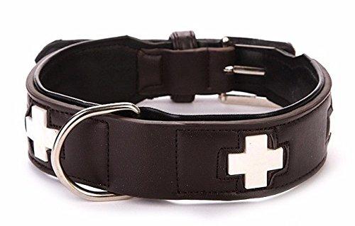 Hundehalsband Swiss Style, PU Leder, Braun, Länge 60 cm, längenverstellbar