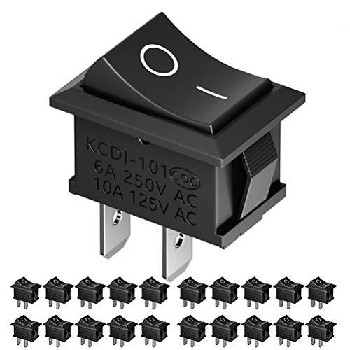 Taigood Schwarz Drucktastenschalter EIN/Aus AC 6A / 250V, 10A / 125V Kippschalter für Auto, Auto, Boot, Haushaltsanwendung 20st -