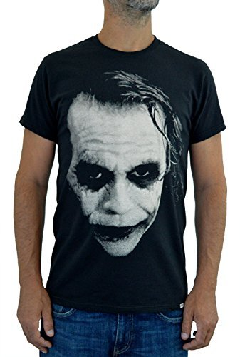 Faces T-Shirt Hombre Joker Heath Ledger Stampa Serigrafica Manuale AD Acqua (M Hombre)