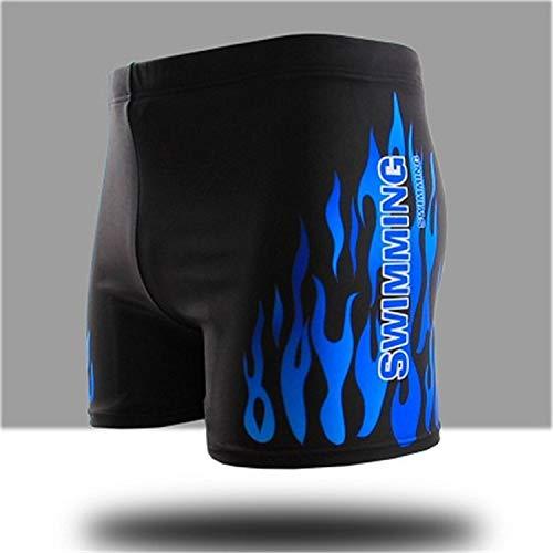 KANEED Badeanzug/Badeanzug Flammenmuster Männer Männliche Badehose Strand Shorts Schwimmen Tragen Briefs Badeanzug, Größe: XXXL (Red fire) (Farbe : Blue fire)