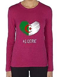 1ec8616cd20 T-Shirt Premium - Manche Longue - Col Rond - Coeur Crayon Algerie Fond Noir