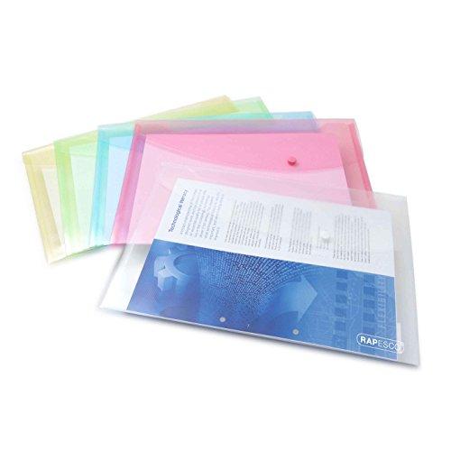 Rapesco 0696 Dokumentenmappe mit Druckknopf, Foolscap (verschiedene Pastellfarben)