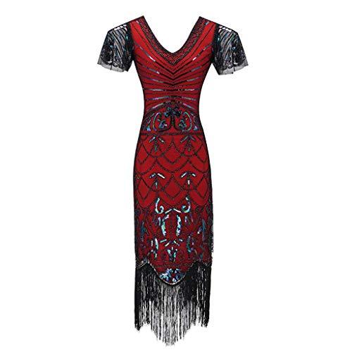 Allegorly 1920s Charleston Kleid Damen Knielang Party Kleid 20er Jahre Flapper Damen Gatsby Kostüm Kleid (Übergröße 20er Jahre Flapper Kostüm)